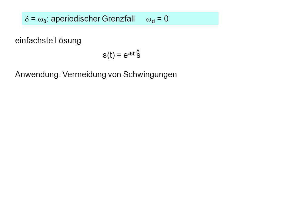 = 0 : aperiodischer Grenzfall d = 0 einfachste Lösung s(t) = e - t s ^ Anwendung: Vermeidung von Schwingungen