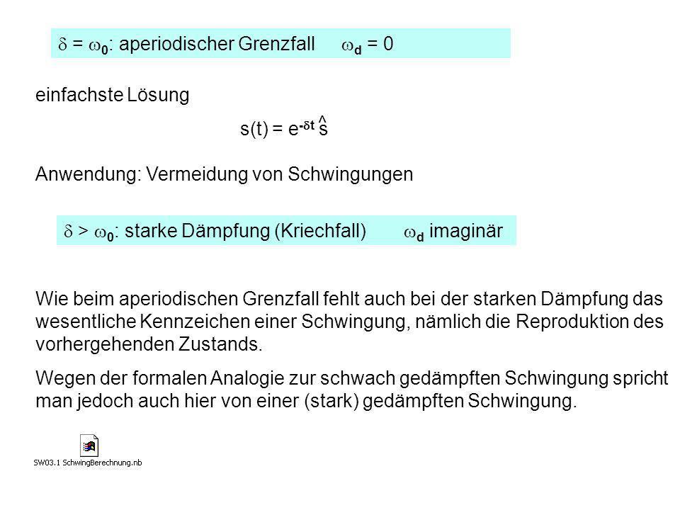 = 0 : aperiodischer Grenzfall d = 0 einfachste Lösung s(t) = e - t s ^ Anwendung: Vermeidung von Schwingungen > 0 : starke Dämpfung (Kriechfall) d ima