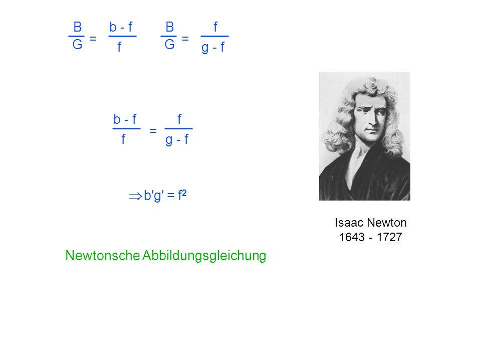 Isaac Newton 1643 - 1727 b'g' = f 2 Newtonsche Abbildungsgleichung b - f f = f g - f B G = f B G = b - f f