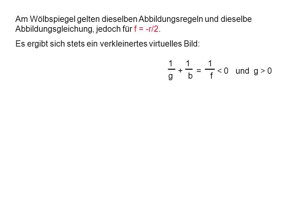 1 g 1 f 1 b + = 0 Am Wölbspiegel gelten dieselben Abbildungsregeln und dieselbe Abbildungsgleichung, jedoch für f = -r/2. Es ergibt sich stets ein ver