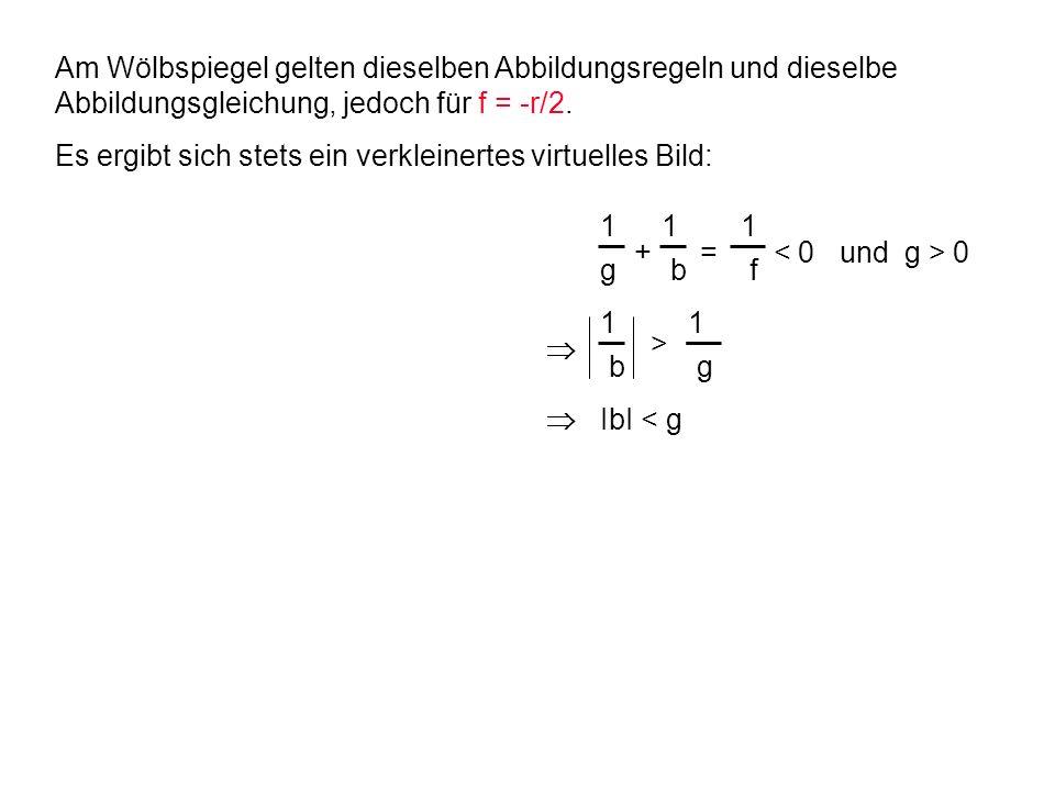1 g 1 f 1 b 1 b 1 g > IbI < g + = 0 Am Wölbspiegel gelten dieselben Abbildungsregeln und dieselbe Abbildungsgleichung, jedoch für f = -r/2. Es ergibt