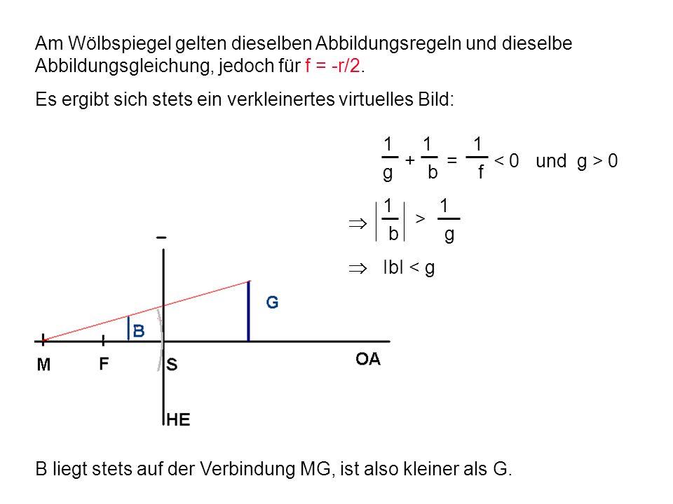 Am Wölbspiegel gelten dieselben Abbildungsregeln und dieselbe Abbildungsgleichung, jedoch für f = -r/2. Es ergibt sich stets ein verkleinertes virtuel