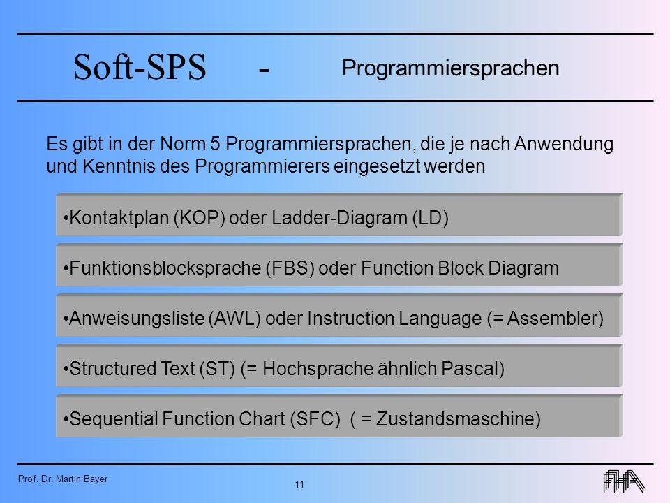 Prof. Dr. Martin Bayer 11 Soft-SPS- Es gibt in der Norm 5 Programmiersprachen, die je nach Anwendung und Kenntnis des Programmierers eingesetzt werden