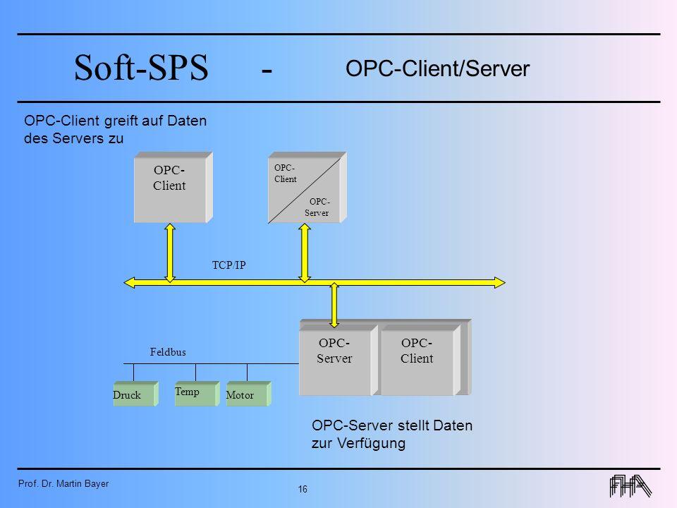 Prof. Dr. Martin Bayer 16 Soft-SPS- OPC- Client OPC-Client/Server OPC- Client Motor Druck Temp OPC- Server Feldbus TCP/IP OPC- Client OPC- Server OPC-
