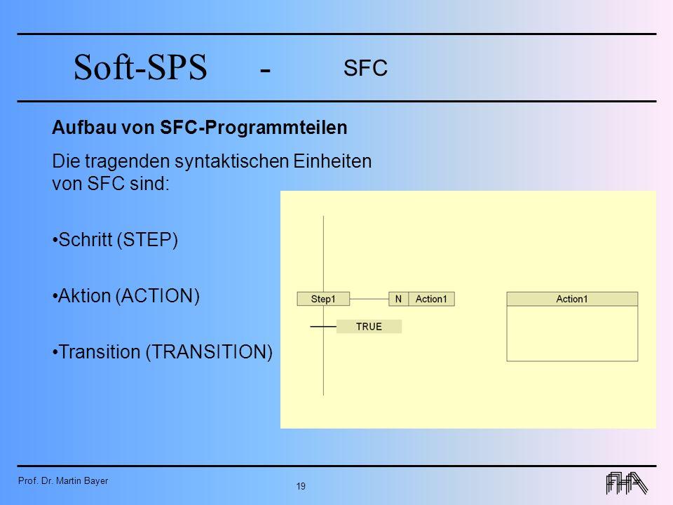 Prof. Dr. Martin Bayer 19 Soft-SPS- SFC Aufbau von SFC-Programmteilen Die tragenden syntaktischen Einheiten von SFC sind: Schritt (STEP) Aktion (ACTIO