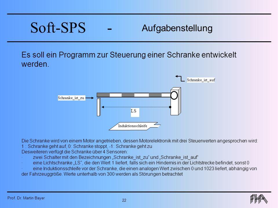 Prof. Dr. Martin Bayer 22 Soft-SPS- Aufgabenstellung Es soll ein Programm zur Steuerung einer Schranke entwickelt werden. LS Induktionsschleife Schran