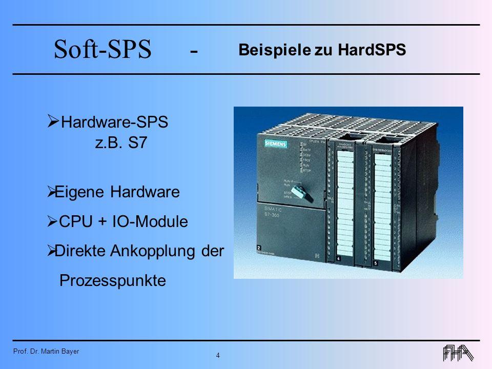 Prof. Dr. Martin Bayer 4 Soft-SPS- Beispiele zu HardSPS Hardware-SPS z.B. S7 Eigene Hardware CPU + IO-Module Direkte Ankopplung der Prozesspunkte