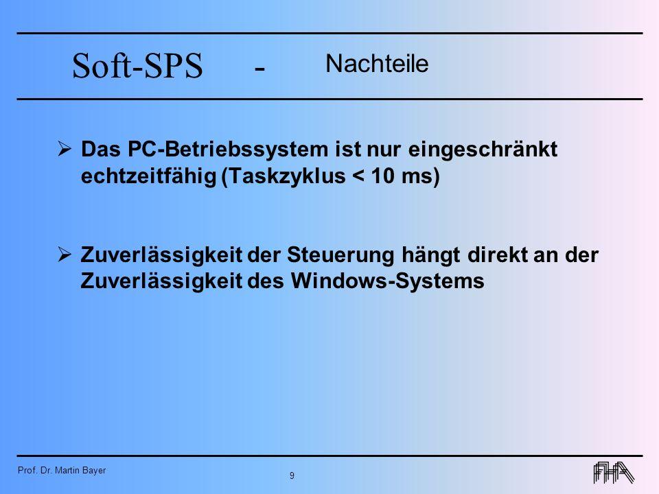 Prof. Dr. Martin Bayer 9 Soft-SPS- Nachteile Das PC-Betriebssystem ist nur eingeschränkt echtzeitfähig (Taskzyklus < 10 ms) Zuverlässigkeit der Steuer
