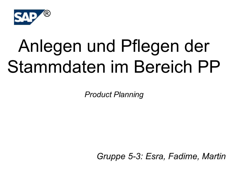 Product Planning Gruppe 5-3: Esra, Fadime, Martin Anlegen und Pflegen der Stammdaten im Bereich PP ®