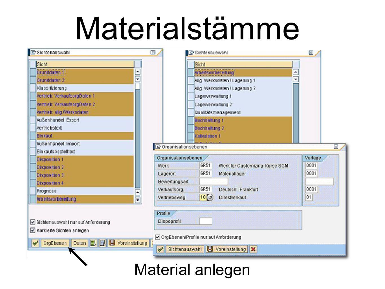 Materialstämme Material anlegen