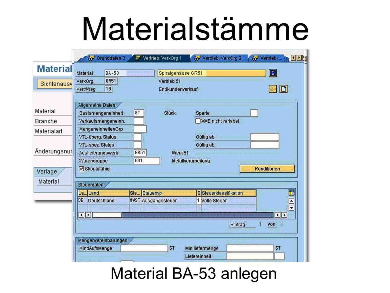 Materialstämme Material BA-53 anlegen