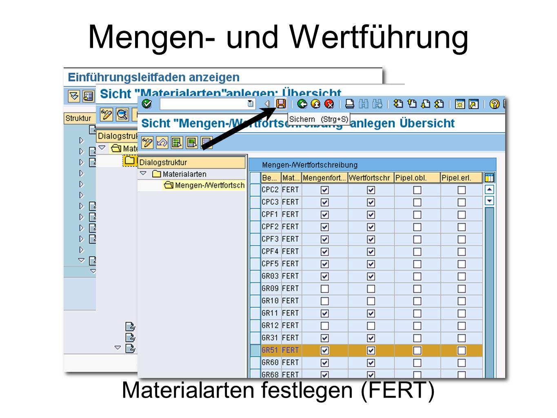 Mengen- und Wertführung Materialarten festlegen (FERT)