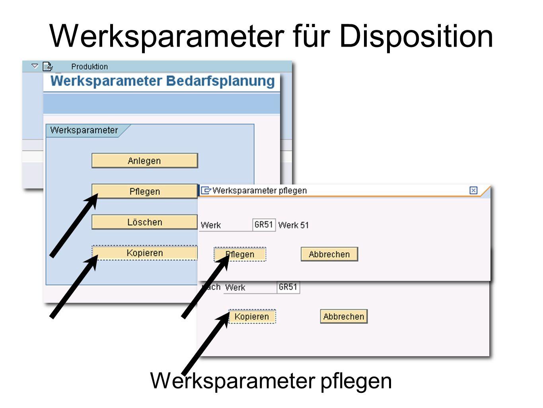 Stammdaten der Werksparameter pflegen Werksparameter für Disposition
