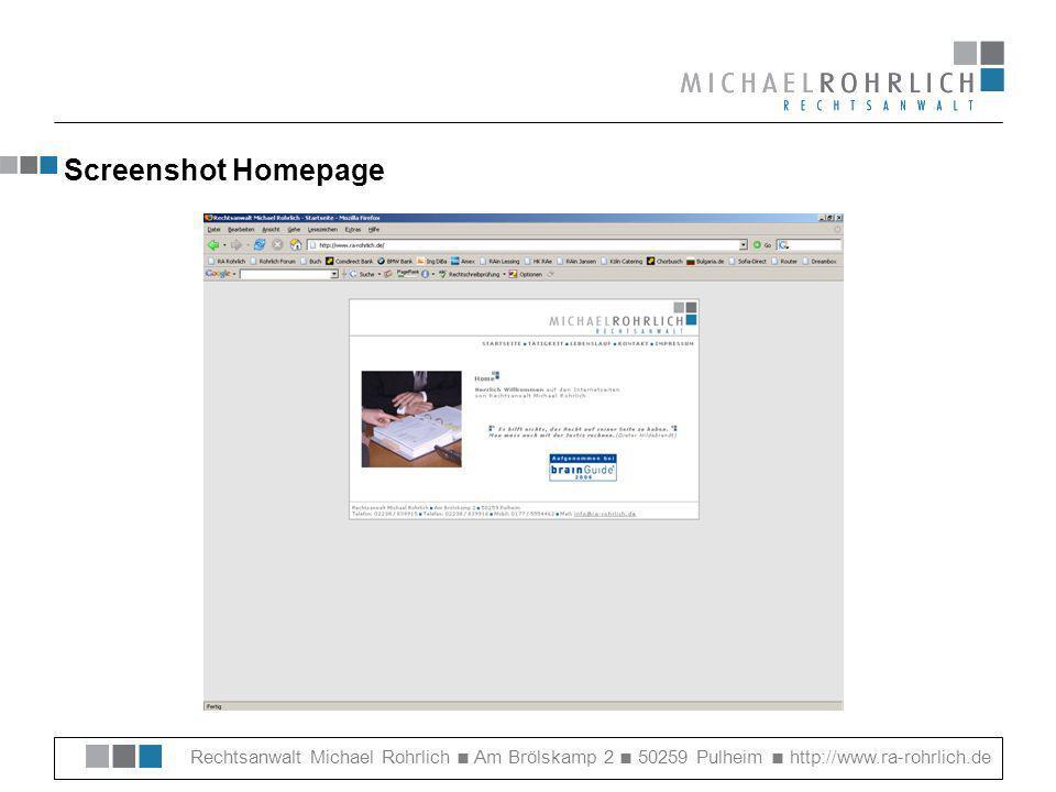 Rechtsanwalt Michael Rohrlich Am Brölskamp 2 50259 Pulheim http://www.ra-rohrlich.de 05) Übersicht HTML-Programme Microsoft Frontpage 2003 – Einfach zu handhabende Einstiegsvariante: http://office.microsoft.com/de-de/FX010858021031.aspx Macromedia Dreamweaver 8 – Das Profi-Tool für Fortgeschrittene: http://www.macromedia.com/de/software/dreamweaver/ Adobe GoLive CS 2 – Das Universalgenie: http://www.adobe.de/products/golive/main.html Netobjects Fusion 9.0 – bestens geeignet für Design-Freaks: http://www.netobjects.com/html/fusion_9.html Evrsoft FirstPage 2006 – Gratis WYSIWYG-Editor: http://www.evrsoft.com/1stpage3.shtml WebCraft – Gratis Quellcode-Editor: http://webcraft.org/