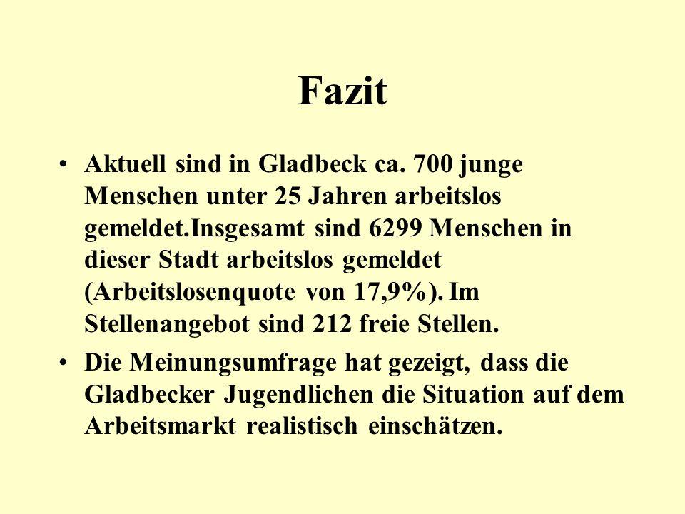 Fazit Aktuell sind in Gladbeck ca. 700 junge Menschen unter 25 Jahren arbeitslos gemeldet.Insgesamt sind 6299 Menschen in dieser Stadt arbeitslos geme