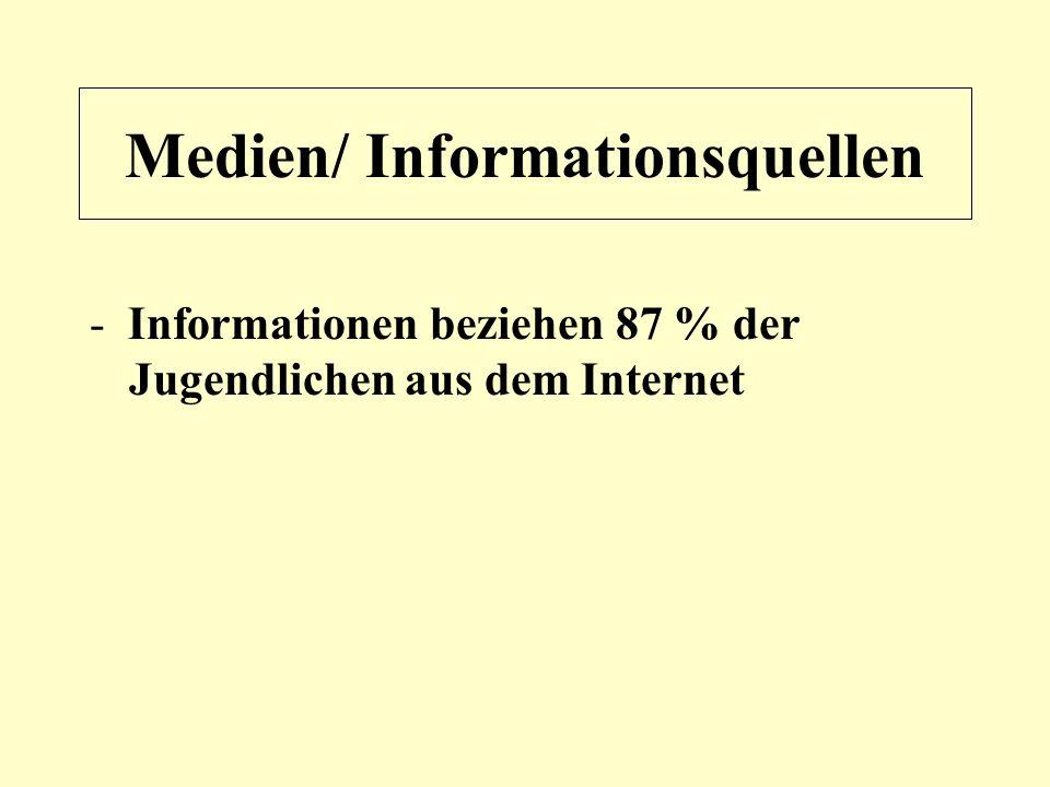 Medien/ Informationsquellen - Informationen beziehen 87 % der Jugendlichen aus dem Internet