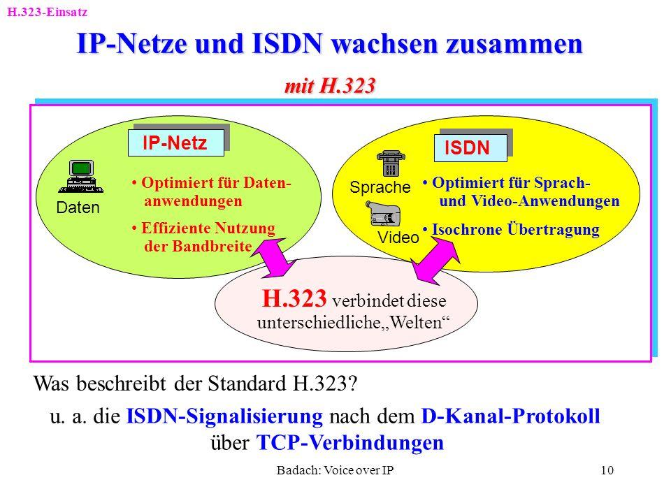 Badach: Voice over IP9 H.323: Entwicklung und Bestandteile H.323-Einsatz H.323: Packet-based multimedia communication systems Standard von ITU-T als e