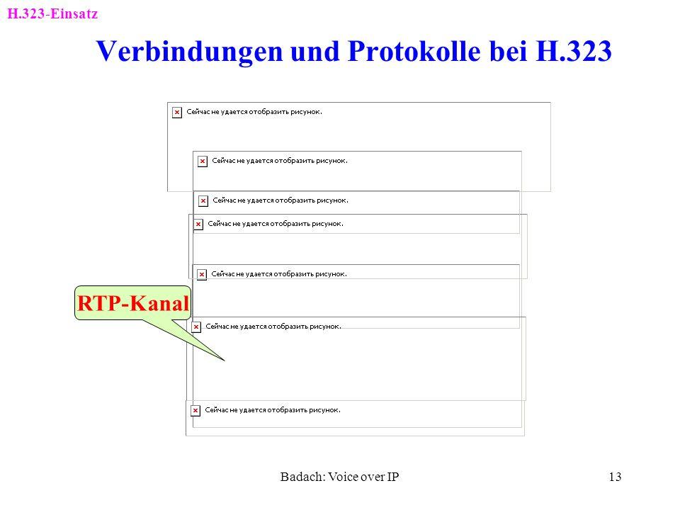 Badach: Voice over IP12 Protokolle für die Kommunikation nach H.323 H.323-Einsatz