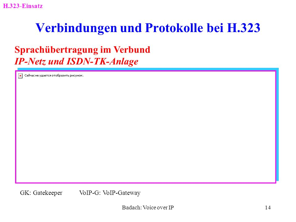 Badach: Voice over IP13 Verbindungen und Protokolle bei H.323 H.323-Einsatz RTP-Kanal