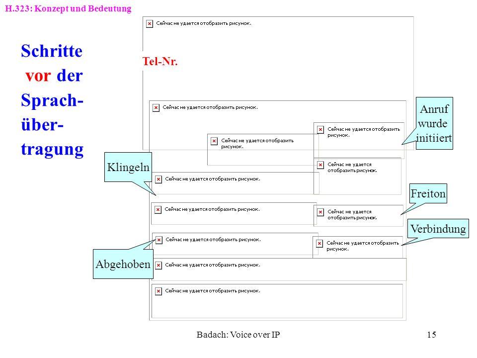 Badach: Voice over IP14 Verbindungen und Protokolle bei H.323 Sprachübertragung im Verbund IP-Netz und ISDN-TK-Anlage H.323-Einsatz GK: GatekeeperVoIP