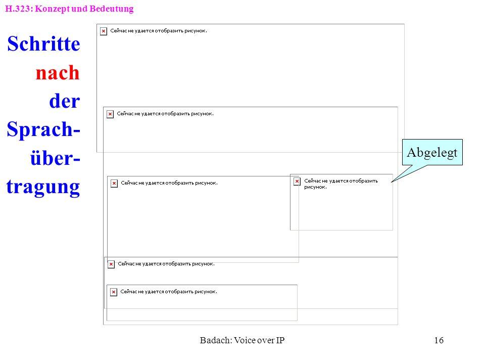 Badach: Voice over IP15 Schritte vor der Sprach- über- tragung Tel-Nr. Anruf wurde initiiert Klingeln Abgehoben Freiton Verbindung H.323: Konzept und