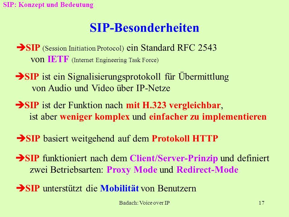 Badach: Voice over IP16 Schritte nach der Sprach- über- tragung H.323: Konzept und Bedeutung Abgelegt