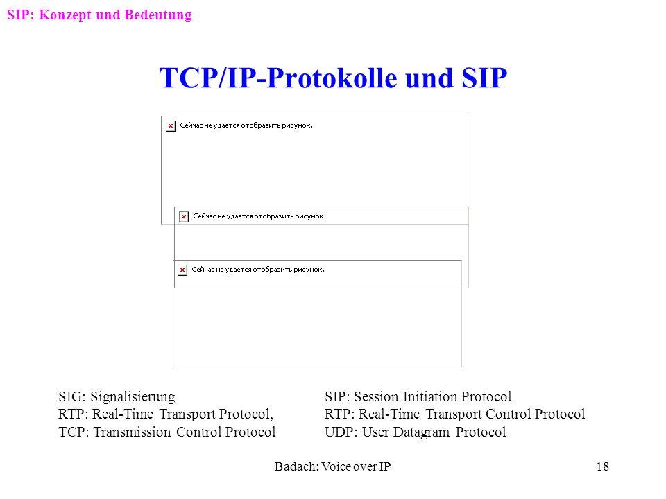 Badach: Voice over IP17 SIP-Besonderheiten SIP: Konzept und Bedeutung SIP (Session Initiation Protocol) ein Standard RFC 2543 von IETF (Internet Engin