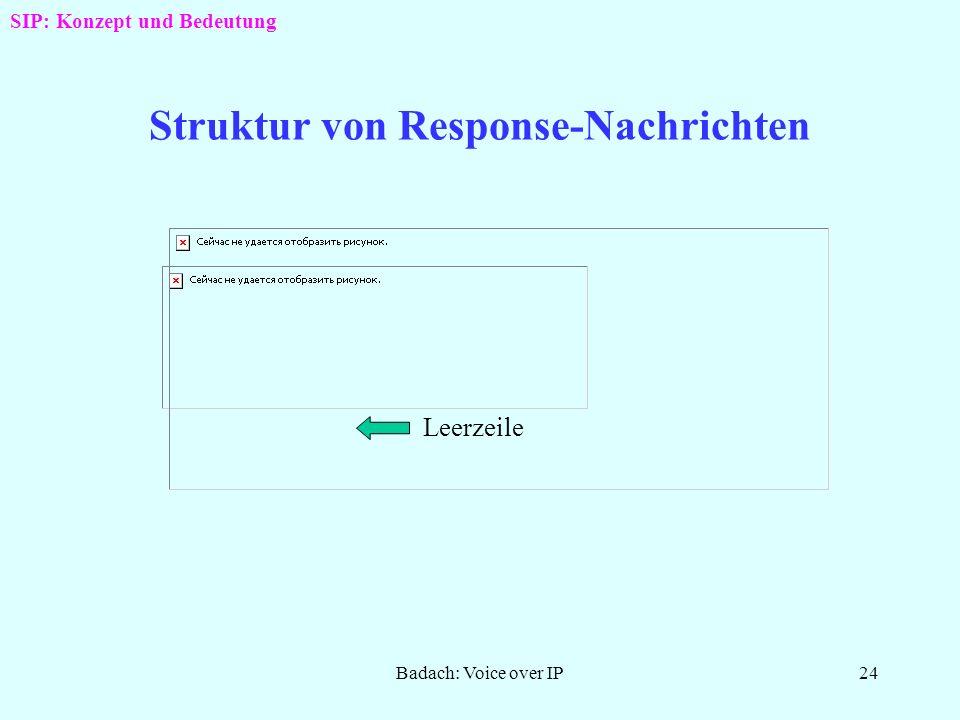 Badach: Voice over IP23 Struktur von Request-Nachrichten Leerzeile SIP: Konzept und Bedeutung URI: Uniform Ressource Identifier