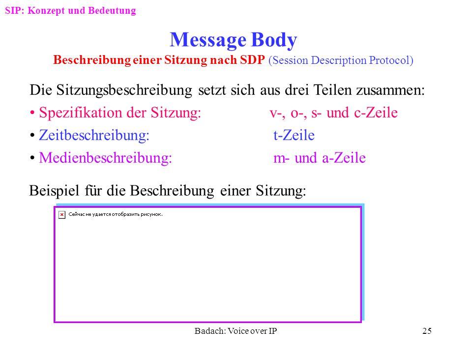 Badach: Voice over IP24 Struktur von Response-Nachrichten Leerzeile SIP: Konzept und Bedeutung