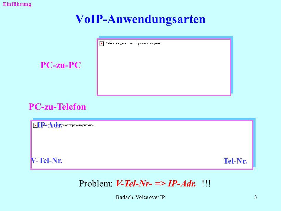 Badach: Voice over IP2 Was ist VoIP ? Übertragung der Sprache und Signalisierung über Datennetze unter Verwendung des Protokolls IP (Internet Protocol