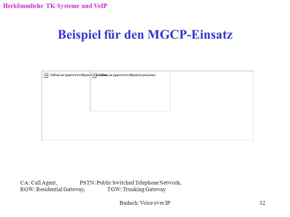 Badach: Voice over IP31 Beispiel für den MGCP-Einsatz CA: Call Agent (Media Gateway Controller) MG: Media Gateway Herkömmliche TK-Systeme und VoIP