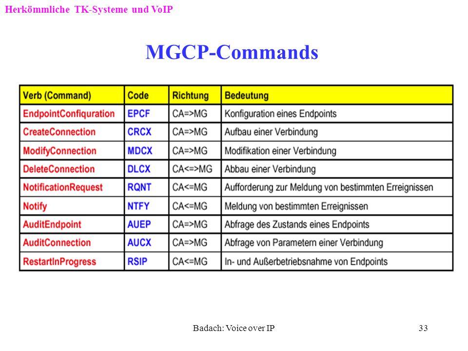 Badach: Voice over IP32 Beispiel für den MGCP-Einsatz CA: Call Agent, PSTN: Public Switched Telephone Network, RGW: Residential Gateway, TGW: Trunking