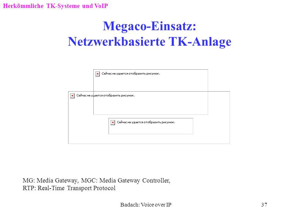 Badach: Voice over IP36 Megaco-Entstehung Herkömmliche TK-Systeme und VoIP