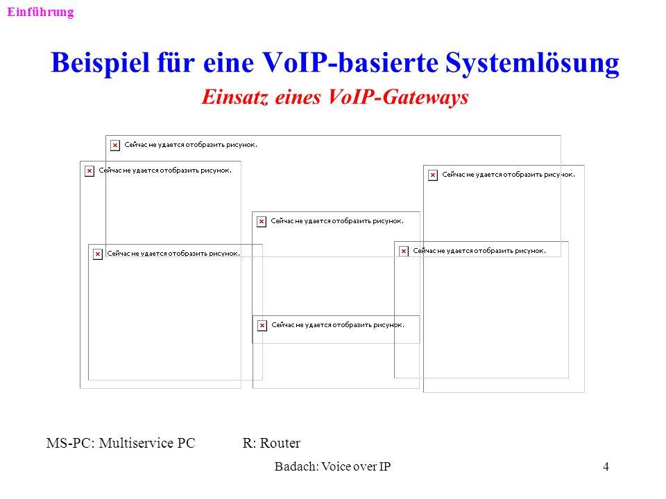 Badach: Voice over IP3 Einführung VoIP-Anwendungsarten PC-zu-PC PC-zu-Telefon IP-Adr. Tel-Nr. V-Tel-Nr. Problem: V-Tel-Nr- => IP-Adr. !!!
