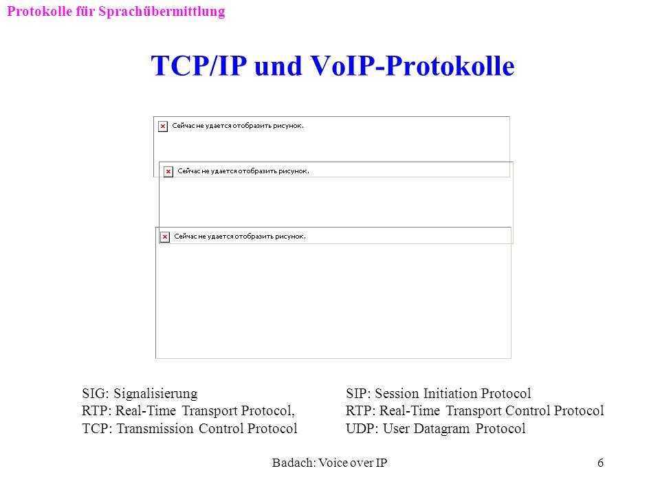 Badach: Voice over IP5 Protokolle für VoIP Einführung Welche Protokolle für VoIP nötig sind ? Protokolle für die Übermittlung der Sprache: RTP, RTCP P