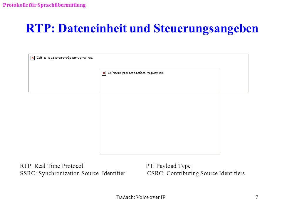 Badach: Voice over IP6 TCP/IP und VoIP-Protokolle Protokolle für Sprachübermittlung SIG: SignalisierungSIP: Session Initiation Protocol RTP: Real-Time