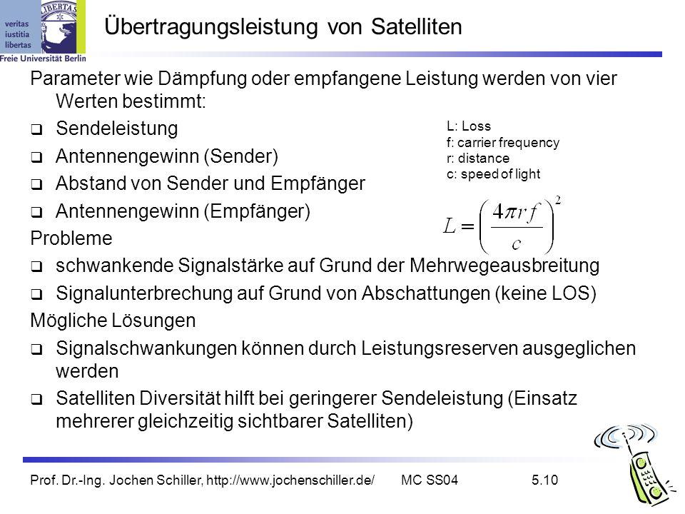 Prof. Dr.-Ing. Jochen Schiller, http://www.jochenschiller.de/MC SS045.10 Übertragungsleistung von Satelliten Parameter wie Dämpfung oder empfangene Le