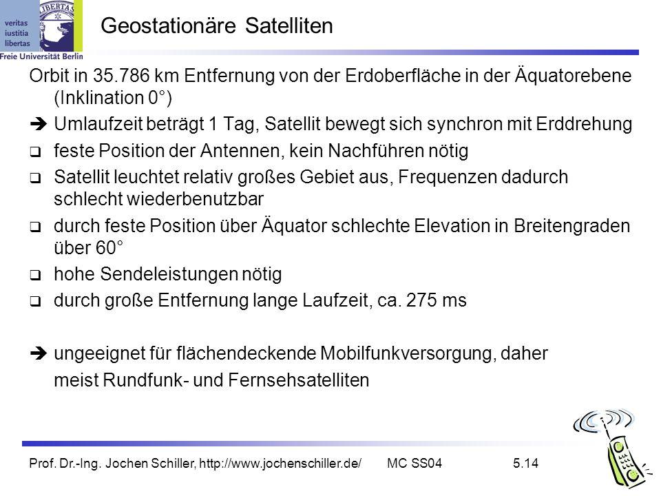 Prof. Dr.-Ing. Jochen Schiller, http://www.jochenschiller.de/MC SS045.14 Geostationäre Satelliten Orbit in 35.786 km Entfernung von der Erdoberfläche
