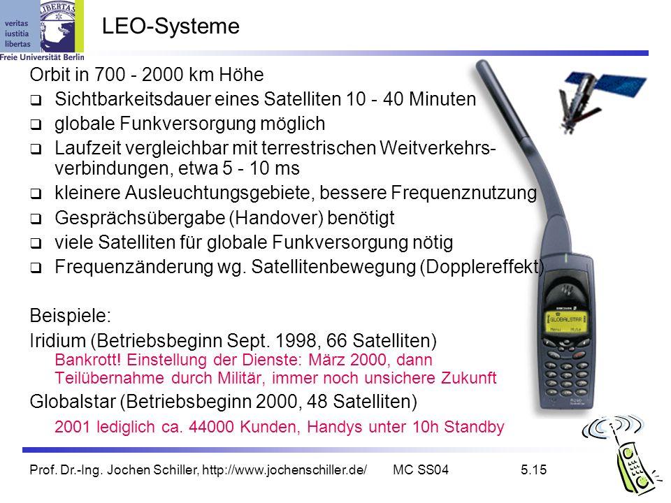 Prof. Dr.-Ing. Jochen Schiller, http://www.jochenschiller.de/MC SS045.15 LEO-Systeme Orbit in 700 - 2000 km Höhe Sichtbarkeitsdauer eines Satelliten 1