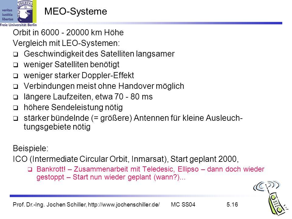 Prof. Dr.-Ing. Jochen Schiller, http://www.jochenschiller.de/MC SS045.16 MEO-Systeme Orbit in 6000 - 20000 km Höhe Vergleich mit LEO-Systemen: Geschwi