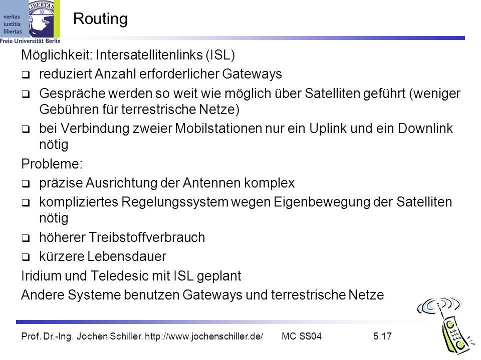 Prof. Dr.-Ing. Jochen Schiller, http://www.jochenschiller.de/MC SS045.17 Routing Möglichkeit: Intersatellitenlinks (ISL) reduziert Anzahl erforderlich