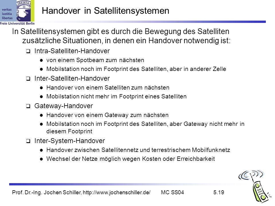 Prof. Dr.-Ing. Jochen Schiller, http://www.jochenschiller.de/MC SS045.19 Handover in Satellitensystemen In Satellitensystemen gibt es durch die Bewegu