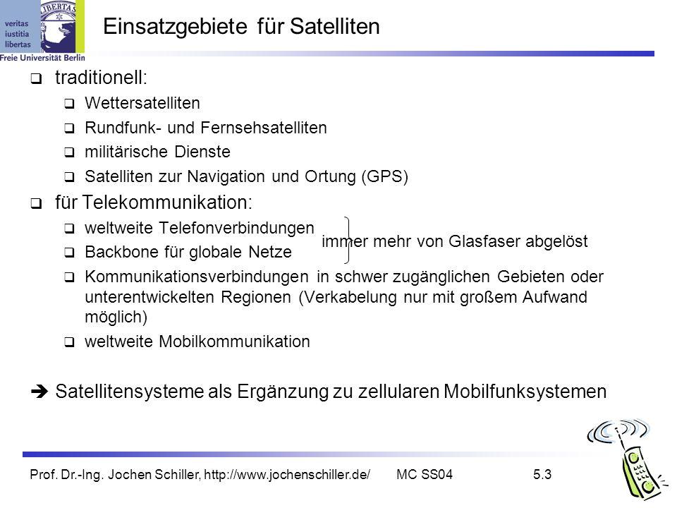 Prof. Dr.-Ing. Jochen Schiller, http://www.jochenschiller.de/MC SS045.3 Einsatzgebiete für Satelliten traditionell: Wettersatelliten Rundfunk- und Fer