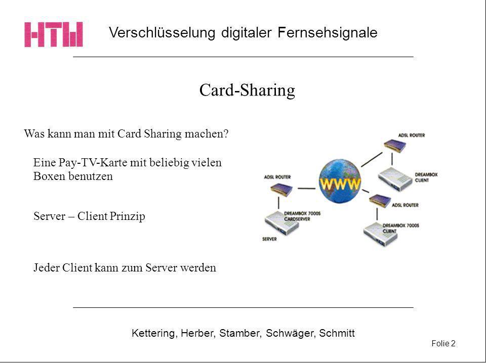 Verschlüsselung digitaler Fernsehsignale Kettering, Herber, Stamber, Schwäger, Schmitt Folie 2 Card-Sharing Was kann man mit Card Sharing machen? Eine