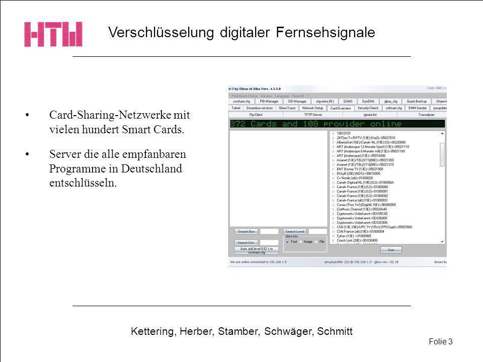 Verschlüsselung digitaler Fernsehsignale Kettering, Herber, Stamber, Schwäger, Schmitt Folie 3 Card-Sharing-Netzwerke mit vielen hundert Smart Cards.