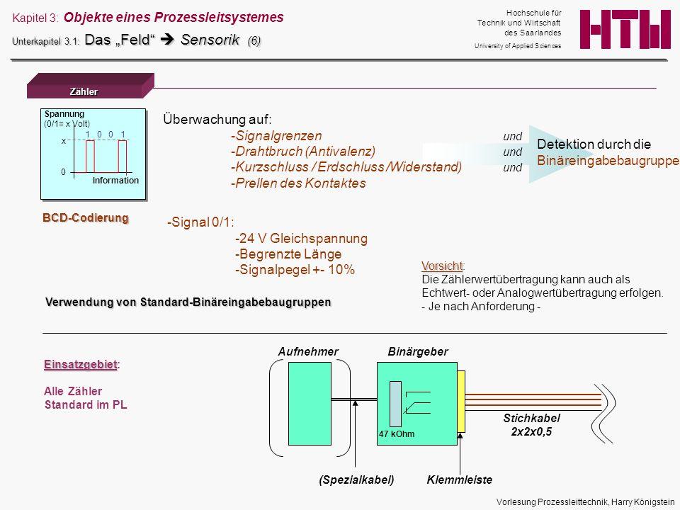 Vorlesung Prozessleittechnik, Harry Königstein 0 Information x Spannung (0/1= x Volt) 1 0 0 1 Zähler AufnehmerBinärgeber (Spezialkabel)Klemmleiste Sti
