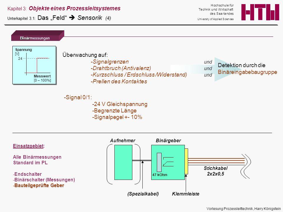 Vorlesung Prozessleittechnik, Harry Königstein Binär Binärmessungen Kapitel 3: Objekte eines Prozessleitsystemes Unterkapitel 3.1: Das Feld Sensorik (