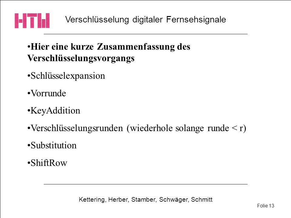 Verschlüsselung digitaler Fernsehsignale Kettering, Herber, Stamber, Schwäger, Schmitt Folie 13 Hier eine kurze Zusammenfassung des Verschlüsselungsvo