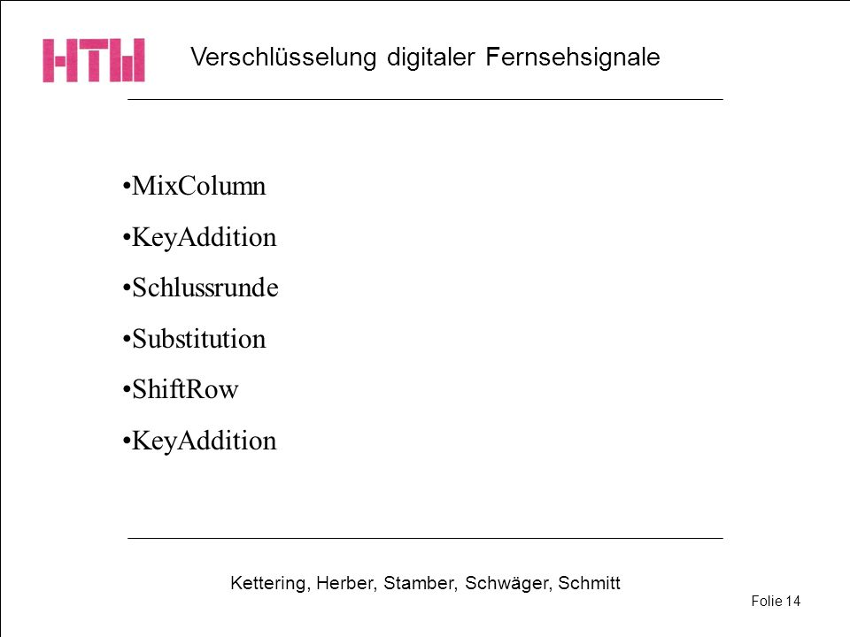 Verschlüsselung digitaler Fernsehsignale Kettering, Herber, Stamber, Schwäger, Schmitt Folie 14 MixColumn KeyAddition Schlussrunde Substitution ShiftR