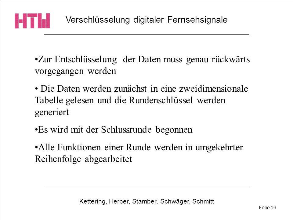 Verschlüsselung digitaler Fernsehsignale Kettering, Herber, Stamber, Schwäger, Schmitt Folie 16 Zur Entschlüsselung der Daten muss genau rückwärts vor